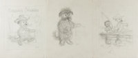 Garth Williams. SIGNED. Three Original Pencil Preliminary Sketches for Mister Dog: The Dog Who Belonged to Hims