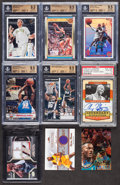Basketball Cards:Lots, 1980's-2000's Basketball Stars & HoFers Card Collection (9)With Jersey & Signed Cards! ...