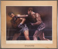 Boxing Collectibles:Memorabilia, 1973 Joe Louis & Max Schmeling Signed Sports Illustrated Lithograph....