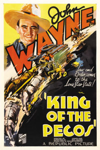 "King of the Pecos (Republic, 1936). One Sheet (27"" X 41""). John Wayne stars in this western as a law student s..."