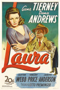 "Movie Posters:Film Noir, Laura (20th Century Fox, 1944). One Sheet (27"" X 41""). When askedwhy she turned down the title role in this classic film ..."