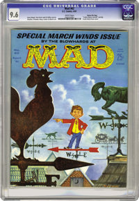 """Mad #62 Gaines File pedigree (EC, 1961) CGC NM+ 9.6 White pages. This """"Special March Winds Issue"""" from the blo..."""