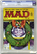 Magazines:Mad, Mad #44 (EC, 1959) CGC NM 9.4 Off-white pages. Christmas cover byKelly Freas. Interior art by Wally Wood, Don Martin, Mort ...