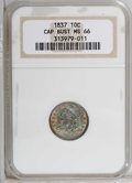 Bust Dimes: , 1837 10C MS66 NGC. JR-3, R.2. Of the dimes of 1837, just over a third coined were of the Capped Bust variety. Olive-gold an...