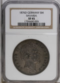 German States:Bavaria, German States: Bavaria. Ludwig II 5 Mark 1876D, KM502, XF45 NGC.Mottled gray and brown toning with an average strike....