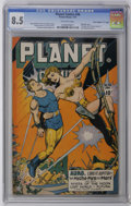 "Golden Age (1938-1955):Science Fiction, Planet Comics #46 Davis Crippen (""D"" Copy) pedigree (Fiction House, 1947) CGC VF+ 8.5 Off-white pages. This issue's cover ma..."
