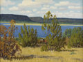 Paintings, FRED DARGE (1900-1978). In the Shade (Possum Kingdom Lake). Oil on canvasboard. 12in. x 16in.. Signed lower right. Title...