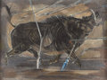 Texas:Early Texas Art - Regionalists, PERRY NICHOLS (1911-1992). Wild Boar Hog. Egg tempera with sgraffito. 18in. x 24in.. Signed lower right. Signed and titl...