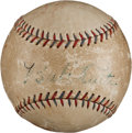 Autographs:Baseballs, 1927 Babe Ruth & Jack Dempsey Single Signed Baseball....