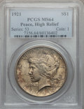 Peace Dollars, 1921 $1 High Relief MS64 PCGS. PCGS Population (3763/1377). NGCCensus: (3398/1229). Mintage: 1,006,473. Numismedia Wsl. Pr...