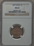 Flying Eagle Cents: , 1857 1C MS62 NGC. NGC Census: (303/1651). PCGS Population(407/1946). Mintage: 17,450,000. Numismedia Wsl. Price forproble...