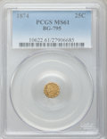 California Fractional Gold: , 1874 25C Indian Octagonal 25 Cents, BG-795, R.3, MS61 PCGS. PCGSPopulation (5/167). NGC Census: (1/18). ...