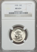 Washington Quarters: , 1935 25C MS65+ NGC. NGC Census: (526/728). PCGS Population(1005/746). Mintage: 32,484,000. Numismedia Wsl. Price for probl...