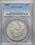 Morgan Dollars: , 1899 $1 AU55 PCGS. PCGS Population (251/10473). NGC Census:(192/8018). Mintage: 330,846. Numismedia Wsl. Price for problem...