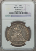 Seated Dollars: , 1841 $1 -- Stained -- NGC Details. AU. NGC Census: (14/141). PCGSPopulation (37/139). Mintage: 173,000. Numismedia Wsl. Pr...