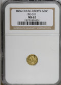 California Fractional Gold: , 1856 50C Liberty Octagonal 50 Cents, BG-311, Low R.4, MS62 NGC. NGCCensus: (4/3). PCGS Population (31/24). (#10436)...