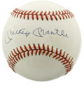 Autographs:Baseballs, Mickey Mantle Single Signed Baseball. The OAL (Brown) baseball is graced with the signature of the most loved baseball play...