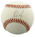 Autographs:Baseballs, Nolan Ryan Single Signed Baseball. Hall of Famer and major leaguestrike-out king, Nolan Ryan enhances the OAL (Brown) base...