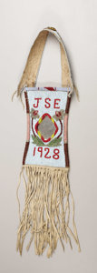 American Indian Art:Beadwork, A CROW BEADED HIDE MIRROR BAG. c. 1928. ...