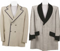Movie/TV Memorabilia:Costumes, Liberace Owned and Worn Jackets. A creme-colored double-breastedjacket with royal blue pinstripes and matching soutash trim...(Total: 1 Item)