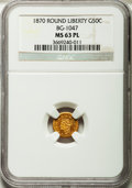 California Fractional Gold: , 1870 50C Goofy Head Round 50 Cents, BG-1047, High R.4, MS63Prooflike NGC. NGC Census: (1/1). ...