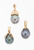 Estate Jewelry:Pearls, South Sea Cultured Pearl, Gold Pendants. ... (Total: 3 Items)