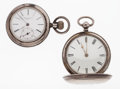 Timepieces:Pocket (pre 1900) , Gustane Tacot Locle & Verge Fusee Sterling Silver PocketWatches. ... (Total: 2 Items)