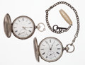 Timepieces:Pocket (pre 1900) , Two Silver Cylinder Hunter's Case Pocket Watches. ... (Total: 2Items)