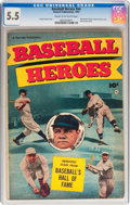 Golden Age (1938-1955):Non-Fiction, Baseball Heroes nn (Fawcett Publications, 1952) CGC FN- 5.5 Creamto off-white pages....