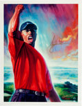 "Golf Collectibles:Autographs, Circa 2000 Tiger Woods Signed ""The Tiger Roars"" Lithographs Lot of2...."