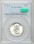 Washington Quarters, 1935-D 25C MS66 PCGS. CAC....