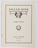 Books:Literature 1900-up, Mark Twain. Death-Disk. New York: Werner, 1913. Firstedition of this pamphlet. Octavo. Self-wrappered. Minor to...