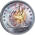 Seated Quarters, 1858 25C MS67 ★ NGC. CAC....