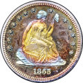 Proof Seated Quarters, 1865 25C PR68 ★ Cameo NGC. CAC....