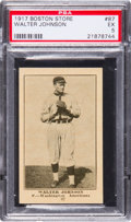 Baseball Cards:Singles (Pre-1930), 1917 H801-8 Boston Store Walter Johnson PSA EX 5. ...