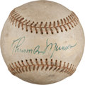 Baseball Collectibles:Balls, 1976 Thurman Munson Single Signed Baseball. ...