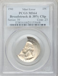 Errors, 1941 25C Washington Quarter -- Broadstruck and 38% Clipped Planchet-- MS64 PCGS.. From The Geyer Family Collection....