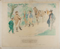 """Books:Original Art, [Original Watercolor]. Frank R. Grey. """"The Pickwickians Arrive at Dingley Dell."""" [N.p., n.d.]. Approximately 20 x 25 inches...."""