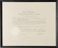 Autographs:U.S. Presidents, John F. Kennedy Appointment Signed... (Total: 2 Items)