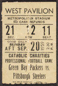 Football Collectibles:Tickets, 1959 Green Bay Packers Vs. Pittsburgh Steelers Ticket Stub (Lombardi 1st Year) - Extremely Rare!...