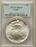 Modern Bullion Coins: , 1995 $1 Silver Eagle MS69 PCGS. PCGS Population (4125/1). NGCCensus: (79556/467). Mintage: 4,672,051. Numismedia Wsl. Pric...