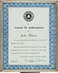 """Baseball Collectibles:Others, 1957 Jackie Robinson """"Award of Achievement"""" PresentationalCertificate...."""