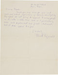 Autographs:Authors, F. Scott Fitzgerald Autograph Letter Signed....