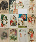 "Books:Prints & Leaves, [Christmas] Lot of Twelve Vintage Christmas Postcards. 5.5"" x 3.5"".Great imagery and in very good condition. From the Col..."