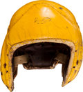 Football Collectibles:Helmets, 1940's Charley Brock Game Worn Green Bay Packers Leather Helmet....