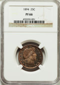 Proof Barber Quarters: , 1894 25C PR66 NGC. NGC Census: (42/28). PCGS Population (20/11). Mintage: 972. Numismedia Wsl. Price for problem free NGC/P...