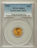 Commemorative Gold: , 1905 G$1 Lewis and Clark MS64 PCGS. PCGS Population (709/312). NGCCensus: (462/185). Mintage: 10,000. Numismedia Wsl. Pric...