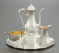 Silver Holloware, American:Coffee Pots, A FOUR PIECE GORHAM SILVER DEMI COFFEE SERVICE. GorhamManufacturing Co., Providence, Rhode Island, 1897. Marks:(lion-ancho... (Total: 4 Items)