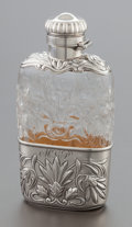 Silver Holloware, American:Flasks, A GORHAM SILVER MOUNTED AND CUT ROCK CRYSTAL FLASK. GorhamManufacturing Co., Providence, Rhode Island, 1896. Marks:(lion-a...