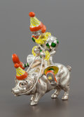 Silver Smalls:Other , A TIFFANY & CO. SILVER AND ENAMEL CIRCUS CLOWN ON A PIGDESIGNED BY GENE MOORE. Tiffany & Co., New York, New York,circa 199...